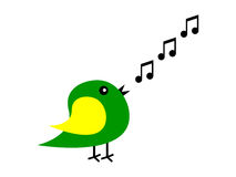 Cartoon bird sings Royalty Free Stock Photos
