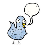 Cartoon bird with speech bubble Royalty Free Stock Image