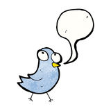 Cartoon bird with speech bubble Royalty Free Stock Photos