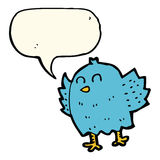 Cartoon bird with speech bubble Royalty Free Stock Photo