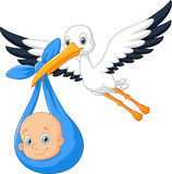 Cartoon bird Stork with baby Stock Images