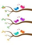 Cartoon bird on a tree Royalty Free Stock Photo