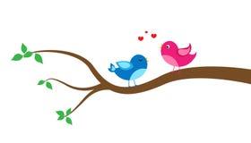 Cartoon bird on a tree Stock Photography