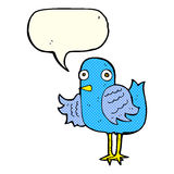 Cartoon bird waving wing with speech bubble Royalty Free Stock Photos