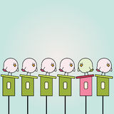 Cartoon birdies. Simple card illustration of funny cartoon birds on top of bird houses stock illustration