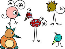 Cartoon birds. Collection of hand-drawn funny cartoon birds Royalty Free Stock Photos