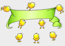 Cartoon birds with banner Royalty Free Stock Photo