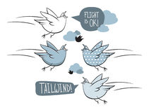 Cartoon birds. Flying birds in hand drawn style with speech bubbles Royalty Free Stock Image