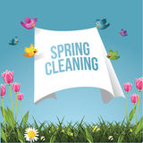 Cartoon birds flying with spring cleaning message Stock Photography