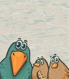 Cartoon birds - funny crow and sparrows Stock Image