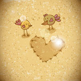 Cartoon birds with heart Stock Images