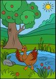 Cartoon birds for kids. Little cute duck. Royalty Free Stock Photos