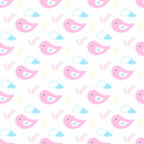 Cartoon birds in love flying in the clouds pattern. Cartoon birds in love in gentle pink colors flying in the clouds pattern Royalty Free Stock Photo