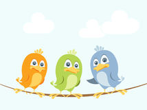 Free Cartoon Birds On A Wire Royalty Free Stock Photography - 23113297