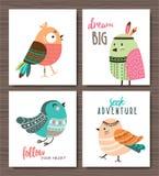 Cartoon birds poster. Set of cute cartoon tribal birds Royalty Free Stock Photos