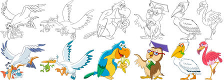 Free Cartoon Birds Set Royalty Free Stock Images - 87130389