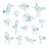 Cartoon birds set. Cute cartoon birds set. Vector contour image no fill. Doodle style. Children's illustration. Funny animals Stock Photos