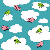 Cartoon birds in sky seamless pattern. Royalty Free Stock Images