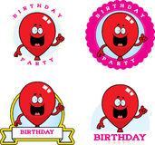 Cartoon Birthday Balloon Graphic. A cartoon illustration of a balloon with a birthday themed graphic Royalty Free Stock Photos