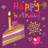 Cartoon birthday cake. Holiday background Royalty Free Stock Photography