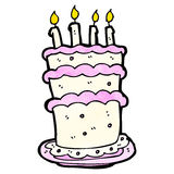 Cartoon birthday cake. Retro cartoon with texture. Isolated on White Royalty Free Stock Images