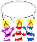Cartoon birthday candles congratulate with speech bubble Royalty Free Stock Photos