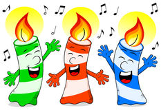 Cartoon birthday candles singing a birthday song Royalty Free Stock Photography