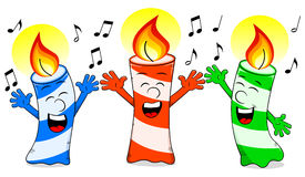 Cartoon birthday candles singing a birthday song Stock Photos