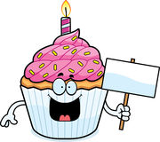 Cartoon Birthday Cupcake Sign Royalty Free Stock Photography