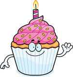 Cartoon Birthday Cupcake Waving Stock Photography