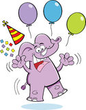 Cartoon Birthday Elephant Jumping Stock Images