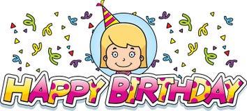 Cartoon Birthday Girl Graphic Stock Image