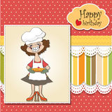 Cartoon birthday greeting card Royalty Free Stock Images