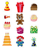 Cartoon birthday icon. Vector drawing Stock Photo