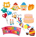 Cartoon birthday icon Stock Photos