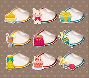 Cartoon birthday Label Stickers Royalty Free Stock Image