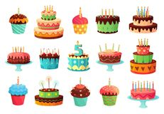 Cartoon birthday party cakes. Sweet baked cake, colourful cupcakes and celebration cakes vector illustration set royalty free illustration