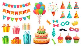 Cartoon birthday party decorations. Gifts presents, sweet cupcakes and celebration cake. Colorful balloons vector