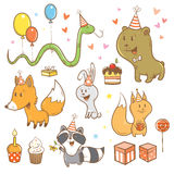 Cartoon birthday set. Funny forest animals. Cute fox, bear, hare, raccoon, snake and squirrel. Children's illustration. Vector image Royalty Free Stock Photo
