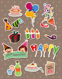 Cartoon birthday stickers Royalty Free Stock Images