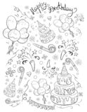 A coloring page,book a birthday theme with lettering image for children.Line art style illustration. vector illustration