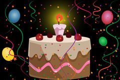 Cartoon bithday cake Stock Images