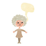 Cartoon bitter old woman with speech bubble Royalty Free Stock Photo