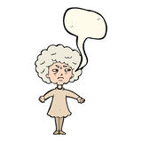 Cartoon bitter old woman with speech bubble Stock Image