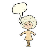 Cartoon bitter old woman with speech bubble Stock Photo