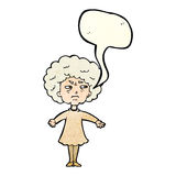 Cartoon bitter old woman with speech bubble Stock Photos