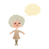 Cartoon bitter old woman with thought bubble Royalty Free Stock Photography