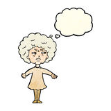 Cartoon bitter old woman with thought bubble Royalty Free Stock Photo
