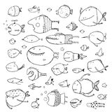 Cartoon Bizarre Fish Collection for Kids Hand. Fun cartoon hand drawn queer fish for children design illustrations set. Pencil sketch style. EPS10 vector has no Stock Images