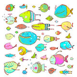 Cartoon Bizarre Fish Collection for Kids Hand. Fun cartoon hand drawn queer fish for children design illustrations set. Pencil style. EPS10 vector has no Stock Photos